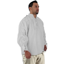 Renaissance Cotton Shirt with Laced Sleeves, White, Large