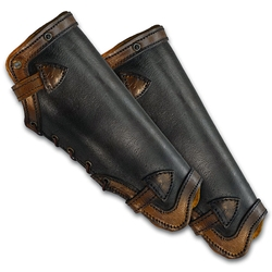 Leather LARP Greaves in Black and Brown, Large