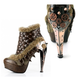 Brown Sexy Steampunk Metallic Plated Heels