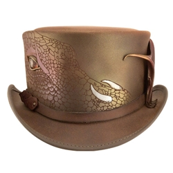 Draco Leather Hat in Brown