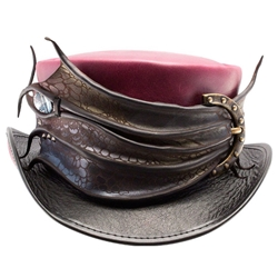 Dragon's Eye Leather Top Hat in Berry