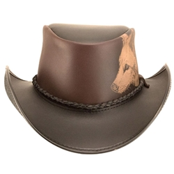 Western Hat with Engraved Wolf