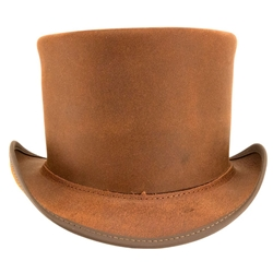 Brown Leather Top Hat
