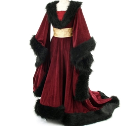 Women's 15th Century Houppelande Gown - Burgundy